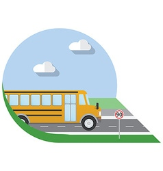 Flat design city Transportation school bus side vector image