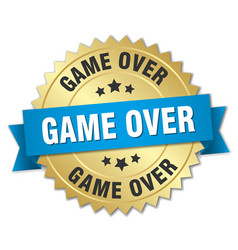 Game over 3d gold badge with blue ribbon vector