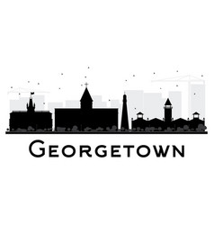 georgetown city skyline black and white silhouette vector image