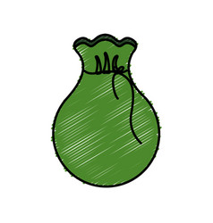 Green bag with money inside vector