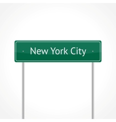 Green NYC traffic sign vector image