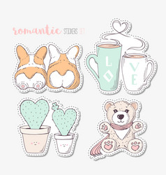 Hand drawn steackers with dogs cactuses cups and vector