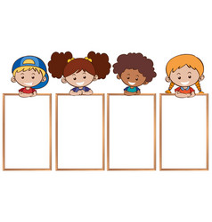 Happy kids and blank whiteboards vector