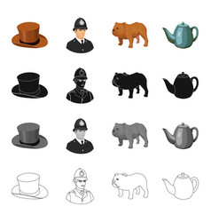 Hat is a cylinder a policeman an english bulldog vector