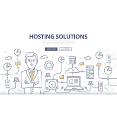 Hosting Solutions Doodle Concept vector image