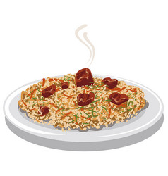 Hot pilaf with meat vector