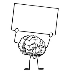 Human brain cartoon character holding empty sign vector