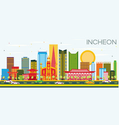 Incheon skyline with color buildings and blue sky vector