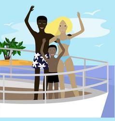 Interracial family on board vector