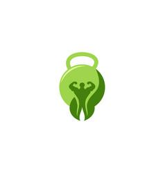 Iron ball and healthy men logo designs vector