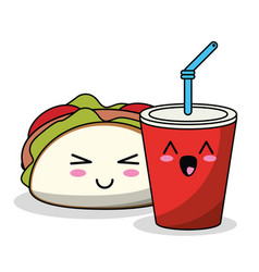 Kawaii taco and soda image vector