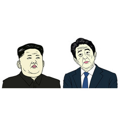 Kim jong-un and shinzo abe portrait flat design vector