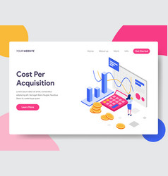 landing page template cost per acquisition vector image