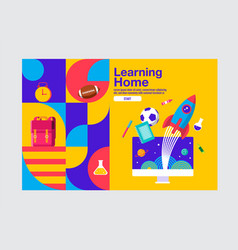 Learning home education banner template vector