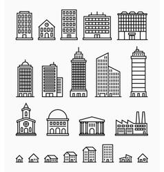 Line building icons set outline buildings vector