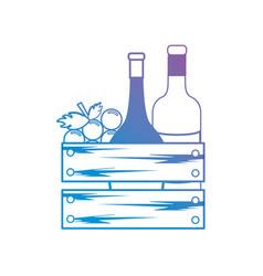 Line wine bottles and grape fruit inside wood box vector