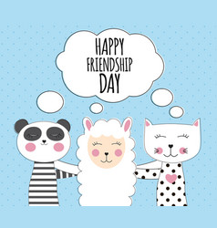 little cute llama panda and cat best friend vector image
