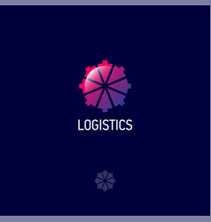 logistic logo direct icon arrows center vector image