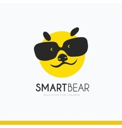 logo smart bear with glasses idea vector image