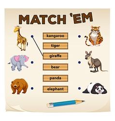 Matching game with wild animals vector image