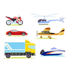 Means transportation collection pictures vector