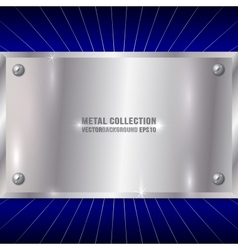 Metallic Silver Plate on Blue Background vector