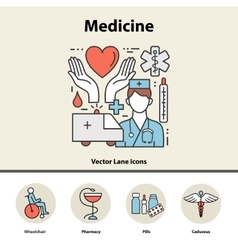 Modern color thin line concept of medicine and vector