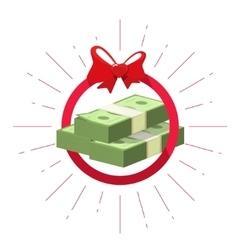Money prize offer win pile cash bundle vector