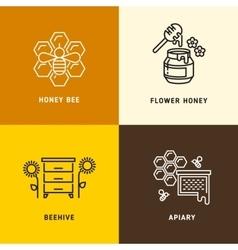 Nature honey bees honeycomb logos vector image