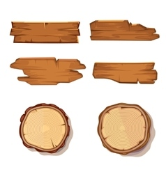 Old wooden planks and saw cut tree trunk vector