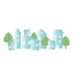 origami paper houses neighborhood town trees vector image