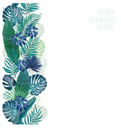 Palm leaves seamless stripe retro vector