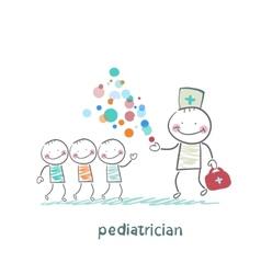 Pediatrician shows children miracle vector