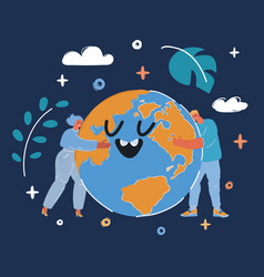 people hugging the earth vector image