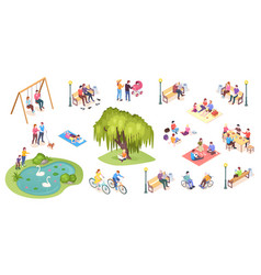 people in park outdoor leisure activity picnic vector image