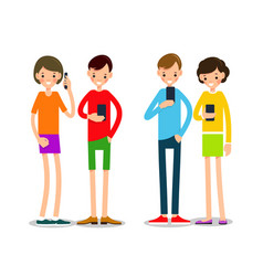 people with phone cartoon young people with vector image