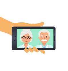 photos elderly parents on your phone vector image