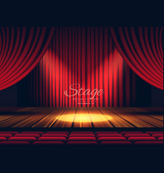 Premium red curtains stage theater or opera vector