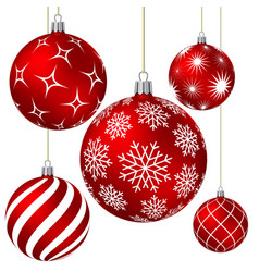 Red christmas balls with different patterns vector