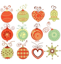 retro christmas ornaments vector image