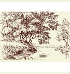 River flow in woods vector