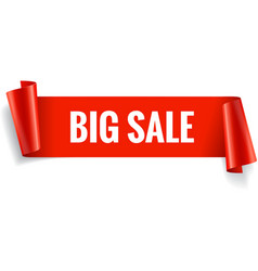 Sale banner Realistic Red Glossy paper ribbon vector
