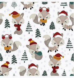 seamless pattern cute little fox in spruce forest vector image