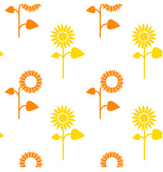 seamless pattern sunflowers on white vector image