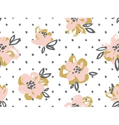 seamless pattern with pink and gold flowers vector image