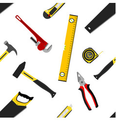 Seamless pattern with repair working tools in flat vector