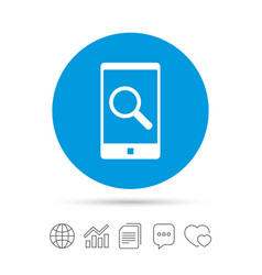Search in smartphone sign icon find symbol vector