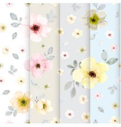 Set 4 cute flower watercolor seamless pattern vector