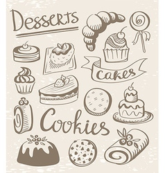 Set of dessert icons vector image