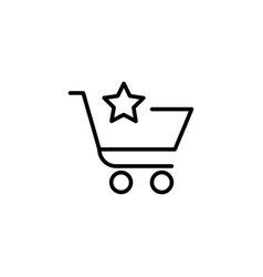 shopping cart with star vector image